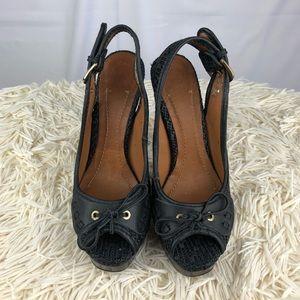 Zara Woman Open Toe Black Platform Heels